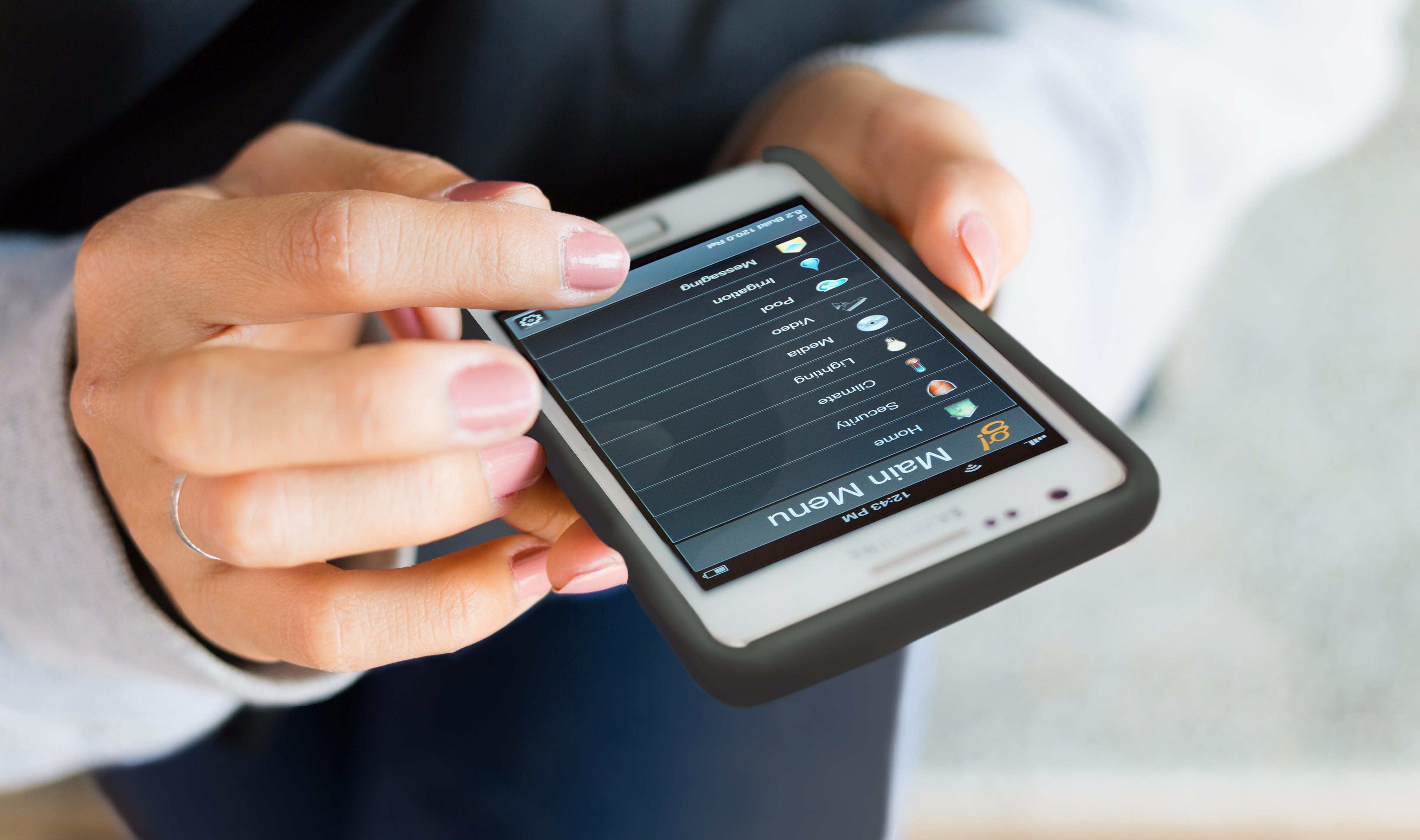 Girl finger touching screen on mobile phone